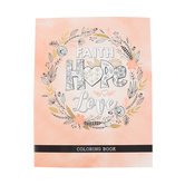 Christian Art Gifts, Faith Hope Love Adult Coloring Book, Softcover, Pink Watercolor, 8 1/2 x 11   x 1 inches