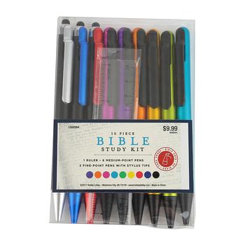 Bible Study Pen and Ruler Set, 10 Pieces