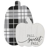 Fall Sweet Fall Plaid Pumpkin Tabletop Plaque, Wood, Black & White, 7 3/4 x 1 1/2 x 7 inches