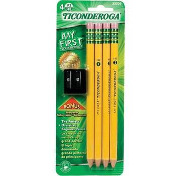 Dixon Ticonderoga, My First Ticonderoga Pencils, #2 HB, Yellow, Pack of 4