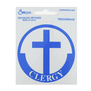Swanson, Clergy with Cross Reflective Decal, Blue & Silver, 3 inches