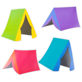 Renewing Minds, Tents Large Cutouts, Multi-Colored, 6 Inches, 4 Designs, 36 Pieces
