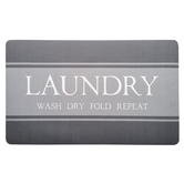 Wash Dry Fold Repeat Laundry Doormat, Polyester and Rubber, Gray, 18 x 30 inches