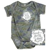 New Ewe, God Made Dirt and Dirt Don't Hurt, Baby Short Sleeve Onesie, Vintage Camo, Newborn-18 Months