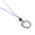 Faith Spark, I Love Jesus with Bead Cord Necklace, Zinc Alloy and Polyester and Wood, Blue and Silver, 24 Inch Cord