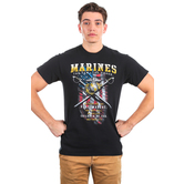 Red Letter 9, Matthew 5:9, Peacemakers Marines Short Sleeved T-Shirt, Black, M-3XL