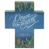 Renewing Faith, Luke 2:14 Peace on Earth Chunky Cross, Wood, 5 x 6 x 1 inches