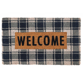 Welcome Doormat, Coir, Navy Plaid and Natural, 18 x 30 Inches