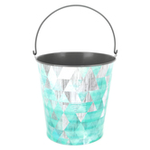 Retro Chic Collection, Large Bucket, 8 x 8.7.5 inches, Weathered Corrugated Metal and Teal Geometric