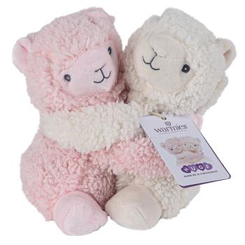 Warmies, Hugs Llama Stuffed Animals, Plush, Pink & White, 7 inches