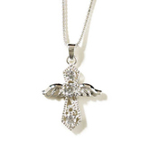 Dicksons, Angel Cross Necklace, Silver Plated and Cubic Zirconia, 18 inches