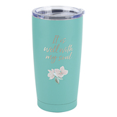 Christian Art Gifts, It Is Well With My Soul Travel Mug, Stainless Steel, Green, 20 ounces