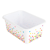 Teacher Created Resources, Confetti Small Plastic Storage Bin, White, 7 3/4 x 11 1/2 x 5 Inches