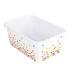 Teacher Created Resources, Confetti Small Plastic Storage Bin, White, 7 3/4 x 11 1/2 x 5 Inches