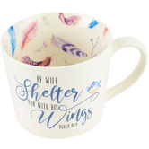Christian Art Gifts, He Will Shelter You Coffee Mug, Ceramic, White, 13 Ounces