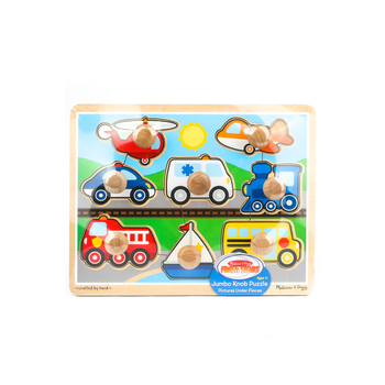Melissa & Doug, Vehicles Jumbo Knob Wooden Puzzle, Ages 12 Months and Older, 8 Pieces
