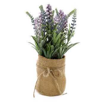 Artificial Lavender in Burlap Bag, Plastic, Purple, 4 x 10 1/4 inches