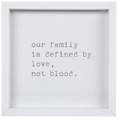 Our Family Is Defined By Love Table Decor, Wood, White, 7 x 7 x 1 1/2 Inches