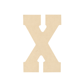 Woodpile Fun, MDF Natural Wood Color Letter - X, 5 inches, Brown