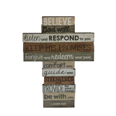 LCP Gifts, 1 John 5:13 Stacked Wood Table Cross, 6 3/4 x 9 inches