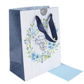 Christian Art Gifts, Proverbs 27:9 A Sweet Friendship Gift Bag, Blue & White, 9 3/4 x 7 3/4 inches