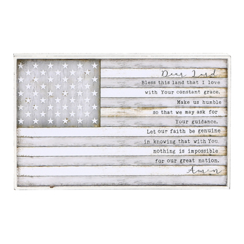 Open Road Brands, Bless This Land Flag Wall Plaque, MDF, Gray, 10 1/2 x 6 1/2 inches