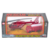 The Toy Network, Helicopter and Fire Truck Rescue Vehicle Toy Set, 2 Pieces, Ages 3 & Older