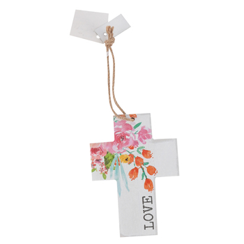 Love Floral Wall Cross, MDF, White, 5 x 3 1/2 inches