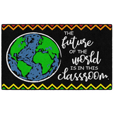 Flagship Carpets, The Future of the World Classroom Rug, Black and Multi-Colored, 2 Feet x 3 Feet