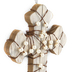 Pearl Wrapped Wall Cross, Wood, White and Brown, 7 3/4 x 5 1/4 x 1 inches