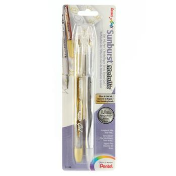 Pentel, Sunburst Metallic Gel Ink Pens, Medium Point, Silver and Gold, Pack of 2