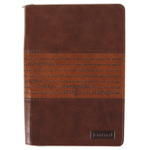 Christian Art Gifts, Joshua 1:5-7 Strong and Courageous Zippered Classic Journal, LuxLeather, Brown, 400 Pages