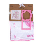 A.D. Sutton & Sons, Isnt She Lovely Baby Milestone Blanket, Pink & White, 30 x 30 inches, 3 Pieces