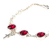 Modern Grace, Proverbs 3:15 Rubies and Pearls with Cross and Heart Charms Bracelet, Silver