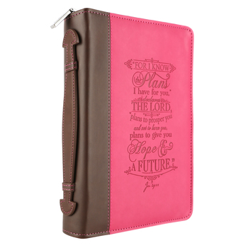 Christian Art, I Know The Plans Bible Cover, Pink and Brown, Medium