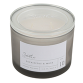 Winfield Home Decor, Soothe Frosted Glass Jar Candle, Gray, 10 ounces, 4 1/4 x 3 1/2 inches