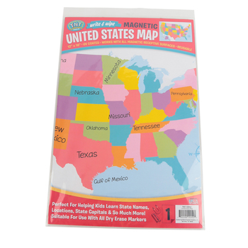 Top Notch Teacher, Magnetic U.S. Map Write & Wipe Chart, Multi-Colored, 12 x 18-inches, Grades PK and up