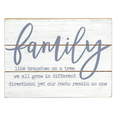 Family Like Branches On A Tree Tabletop Plaque, MDF, White & Brown, 2 3/4 x 8 x 6 inches