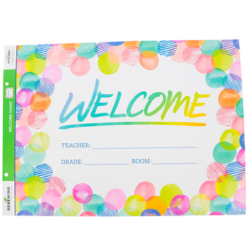 Renewing Minds, Customizable Welcome Chart, Rainbow Polka Dots, 22 x 17 Inches, Multi-Colored