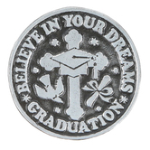 Abbey and CA Gift, Proverbs 3:6 Believe In Your Dreams Graduation Pocket Token, Pewter, 1 inch