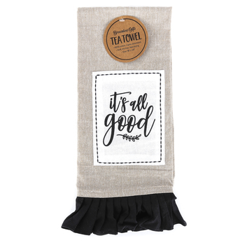 Brownlow Gifts, It's All Good Tea Towel, Cotton, Black, White, and Tan, 18 x 28 inches