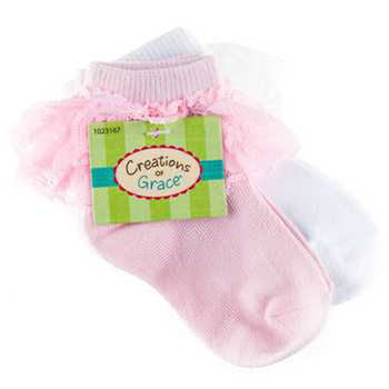 Creations of Grace, Lace Trimmed Socks, Light Pink and White, 2 pairs, 6-12 months