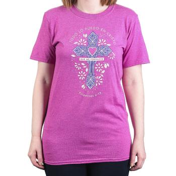 Philippians 4:13 Through Christ (Spanish), Women's Short Sleeve T-shirt, Heather Berry, S-2XL