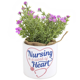 Carson Home Accents, Nursing Is A Work Of Heart Planter with Flowers, Ceramic, 7 x 3 1/2 inches