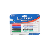 Bazic Products, Dry Erase Whiteboard Markers, Fine Point, Low Odor Ink, 4-Pack, Assorted Colors