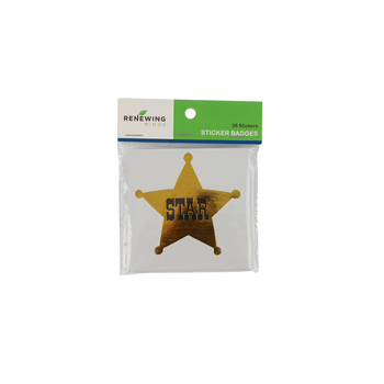 Goin' West Collection, Star Sticker Badge, 3 Inches, Gold Foil, Pack of 36