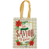 Renewing Faith, A Savior Is Born Small Gift Bag, Red, Green, and Gold, Multiple Sizes Available