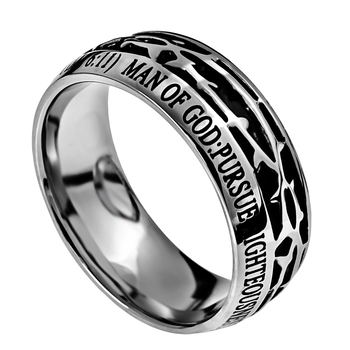 Spirit & Truth, Crown of Thorns, Man of God , 1 Timothy 6:11, Men's Ring, Stainless Steel