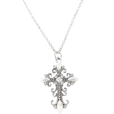 Bella Grace, Bling Cross Pendant Necklace, Zinc Alloy, Burnished Silver, 18 inches