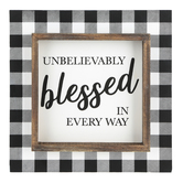 Collins Painting & Design, Unbelievably Blessed Tabletop Plaque, MDF, Black & White, 7 inches